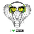 Portrait of snake with glasses and headphones vector illustration Stock Image