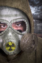 Portrait of soldier with gas mask nuclear contamination concept Royalty Free Stock Image
