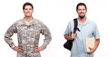 Portrait of a soldier and a young man with backpack and document smiling Stock Images