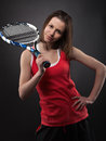 Portrait of sporty teen girl tennis player Stock Photos