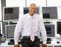 Portrait Of Stock Trader In Front Of Computer Royalty Free Stock Photos