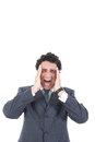 Portrait of stressed businessman screaming in pain and having he Royalty Free Stock Photo