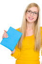 Portrait of student girl in glasses holding book Stock Photos