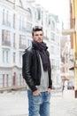 Portrait of stylish guy outdoors Royalty Free Stock Photo
