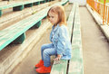 Portrait of stylish little girl child in the jeans clothes Royalty Free Stock Photo