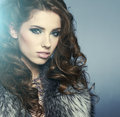 Portrait of stylish woman in fur Royalty Free Stock Images