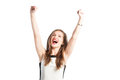 Portrait of a successful business woman raising arms up in the air and screaming for happiness Royalty Free Stock Photo