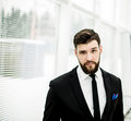Portrait of a successful Manager near the window in the bright office. Royalty Free Stock Photo