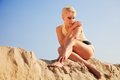 Portrait summer of attractive woman in sand Royalty Free Stock Photos