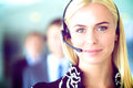 Portrait of  support phone operator with the Royalty Free Stock Photo