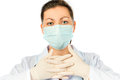 Portrait of a surgeon in a sterile mask protective clothing Stock Image