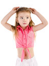 Portrait of surprised cute little girl isolated over white Royalty Free Stock Photography