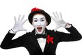 Portrait of the surprised and joyful mime with Royalty Free Stock Photo