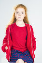 Portrait of Surprised Redhaired Caucasian Little Girl In Red Jac Royalty Free Stock Photo