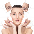 Portrait of a surprised woman in makeup young healthy and beautiful plastic surgery medicine spa cosmetics and visage concept Stock Photos