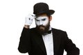 Portrait of the suspicious mime Royalty Free Stock Photo
