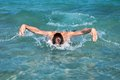 Portrait of swimmer in open water Royalty Free Stock Photo