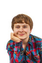 Portrait of a teen boy in studio isolated on white Royalty Free Stock Photo