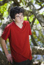 Portrait of Teen Boy in Woods Royalty Free Stock Images