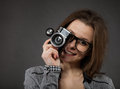 Portrait of the teen girl with old camera Royalty Free Stock Photos