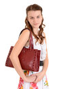 Portrait teen girl with a purse Stock Photography