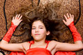 Portrait teen girl in red Stock Photos
