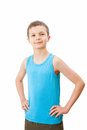 Portrait of a teenage boy in a tank top charming Stock Image