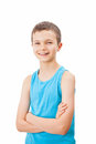 Portrait of a teenage boy in a tank top charming Stock Photography