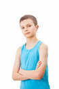Portrait of a teenage boy in a tank top charming Stock Photos