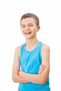Portrait of a teenage boy in a tank top charming Stock Images