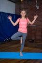 Portrait of teenage girl practicing yoga Royalty Free Stock Photo