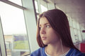Portrait of a teenage girl waiting for flight Royalty Free Stock Photo