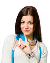 Portrait of teenager silence gesturing in colored scarf isolated on white Royalty Free Stock Photography