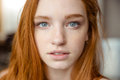 Portrait of tender natural beautiful redhead girl looking camera Royalty Free Stock Photography