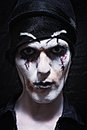 Portrait of a theatrical actor with dark makeup closeup Stock Photography