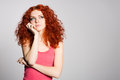 Portrait thinking red haired young woman Royalty Free Stock Photo