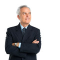 Portrait of thoughtful senior businessman over white background Stock Photography