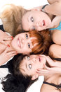 Portrait three excited women lying white background Royalty Free Stock Photos