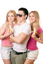 Portrait of three happy young people Stock Images