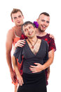 Portrait of three laughing transvestites cross dressing isolated on white background Stock Image