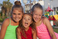 Portrait of three little girls caucasian outdoor Stock Photo