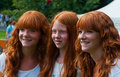 Portrait of three redheaded girls Royalty Free Stock Image
