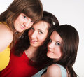 Portrait of three smiling girlfriends Royalty Free Stock Image