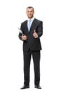 Portrait of thumbing up businessman with folder full length isolated on white concept leadership and success Royalty Free Stock Photography