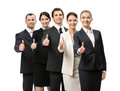 Portrait of thumbing up group of business people isolated on white concept teamwork and cooperation Stock Photo