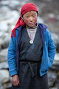 Portrait of tibetan boy nepal lho november girl from the village refugees poses for a photo on november in lho village gorkha Stock Image