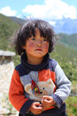 Portrait of a tibetan kid Stock Photos