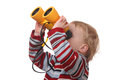 Portrait toddler binoculars white background Stock Photography