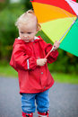 Portrait of toddler girl with umbrella Royalty Free Stock Images