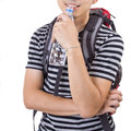 Portrait traveler drink water concept on during travel in outside Stock Photography